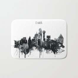 Dallas TexasBlack White Skyline Poster Bath Mat