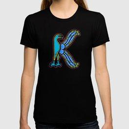 Illuminated Peacock Letter K 2017 Purple T-shirt