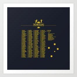 The Matildas 1979-2019 Navy Art Print