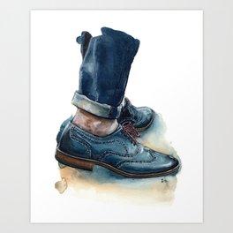 Teal Brogues, Just A Men Shoe Art Print