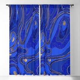 Marble Map - blue and gold Blackout Curtain