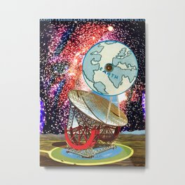Artist Trading Card #15 - Planet Earth Is Blue Metal Print