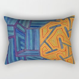 Blue Striped Segments combined with Orange Area Rectangular Pillow