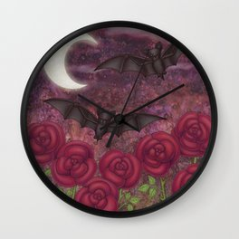 bats and roses Wall Clock