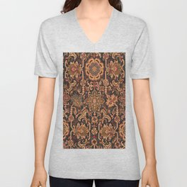 Floral Medallion I // 18th Century Colorful Blue Lime Green Pink Sapphire Plum Burlap Brown Pattern Unisex V-Neck