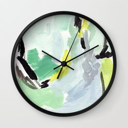 Twirl Green: Abstract Painting Wall Clock