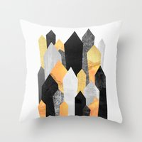 minerals Throw Pillows featuring Black & Yellow Crystals by Elisabeth Fredriksson