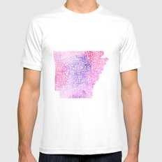 Typographic Arkansas - Pink Watercolor Mens Fitted Tee MEDIUM White