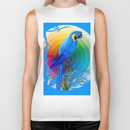 DECORATIVE CERULEAN BLUE MACAW  COLORFUL ART Biker Tank