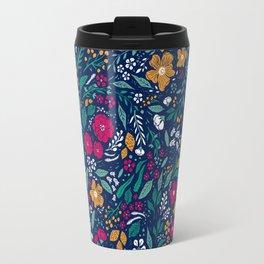 Block Print Botanical Travel Mug
