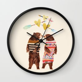 Dancing Bear Couple in Love Wall Clock