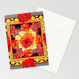 DECORATIVE GREY FLORAL  ABSTRACTED  ORANGE-RED POPPIES Stationery Cards