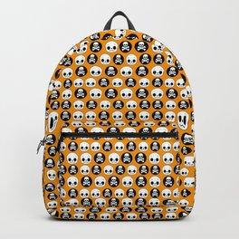 Skull Orange Black Halloween Print Backpack
