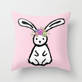 Spring Easter Bunny Throw Pillow