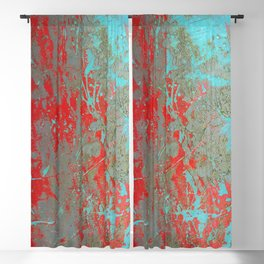texture - aqua and red paint Blackout Curtain