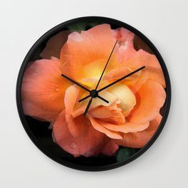 Rose With Dew Abstract Wall Clock