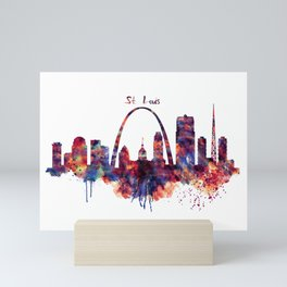 St Louis Watercolor Skyline Mini Art Print