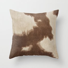 Cowhide Brown and White Throw Pillow