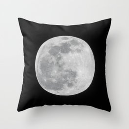 Full Moon Black and White Telescope Space Photography Throw Pillow