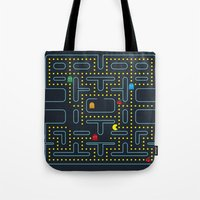 pacman Tote Bags featuring Pacman by Virbia