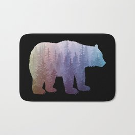 Misty Forest Bear - colorful rainbow Bath Mat
