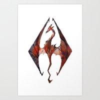 skyrim Art Prints featuring Skyrim Alduin by Rubis Firenos