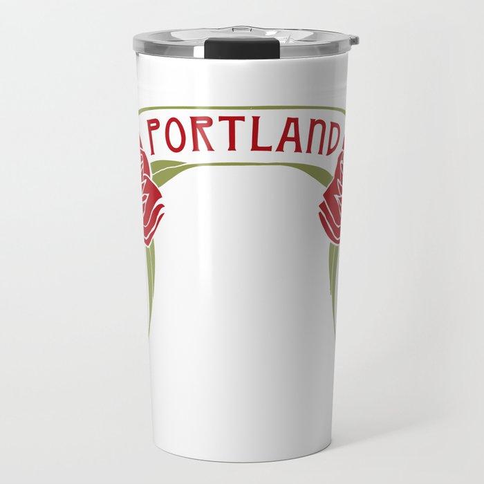 Art Nouveau Roses Portland by Seasons K Designs Travel Mug