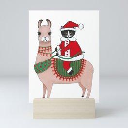 Santa Claws and Llama 3 Mini Art Print