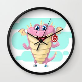 Dragon with Lollypop Candy Wall Clock