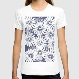 Summer Flowers Dark Blue T-shirt