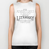 literary Biker Tanks featuring Literary Adventures by Drop and Give Me Nerdy