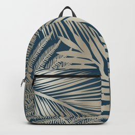 Tropical Palm Leaves, Dark Teal and Gold Backpack