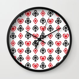 Aces Hearts Spades Diamonds Clovers Poker all Over Print Wall Clock