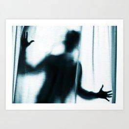 Figure behind a curtain. Art Print