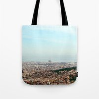 barcelona Tote Bags featuring Barcelona by Julius Marc