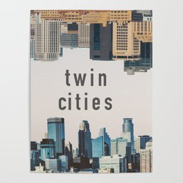 Twin Cities Minneapolis and Saint Paul Minnesota Skylines Poster