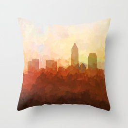 Cleveland, Ohio Skyline - In the Clouds Throw Pillow