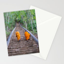 Buddhist monks walking the stairs in Cambodia | Travel photography Asia Stationery Cards