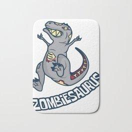 Zombie dinosaur T-Rex joke apocalypse gift Bath Mat