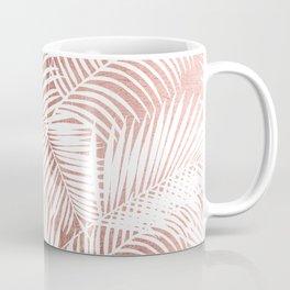 Modern elegant white faux rose gold palm tree Coffee Mug