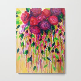 ROSES ARE RAD - Bold Fun Red Roses Floral Bouquet Vines, Flowers Abstract Acrylic Painting Fine Art Metal Print