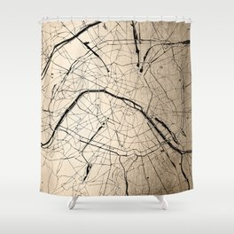 Paris France Minimal Street Map - Gold on Black II Shower Curtain