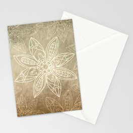 Flower pattern brown Stationery Cards