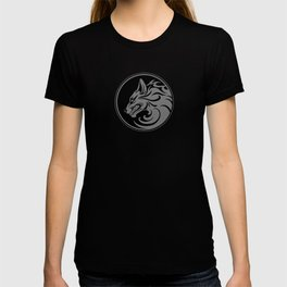 Gray and Black Growling Wolf Disc T-shirt