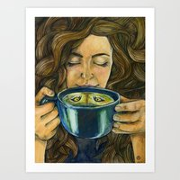 There's a Cat in my Tea Art Print