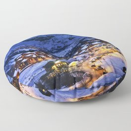 Evening landscape and ski resort in the French Alps Floor Pillow