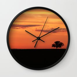 Lone Tree in Field Wall Clock