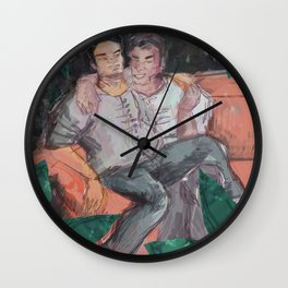gay couple forest Wall Clock