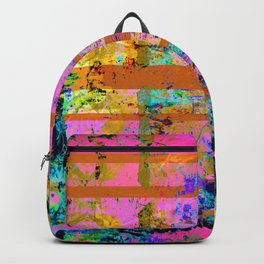 Pink Yellow and Turquoise Grunge Wood Backpack
