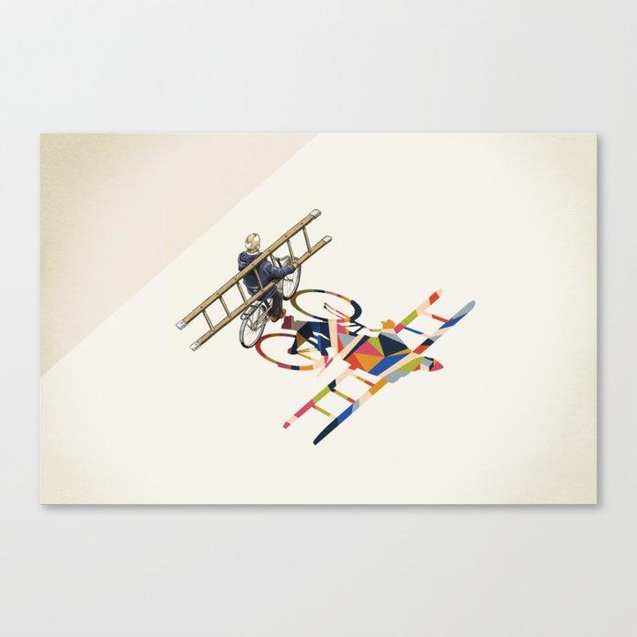 Walking Shadow, Bicyclist Canvas Print